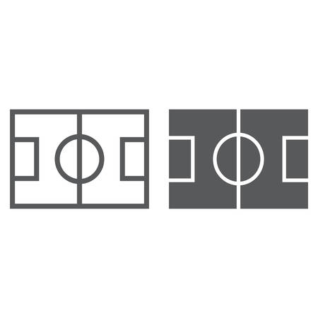 Soccer field line and glyph icon, game and sport, playing field sign, vector graphics, a linear pattern on a white background, eps 10.