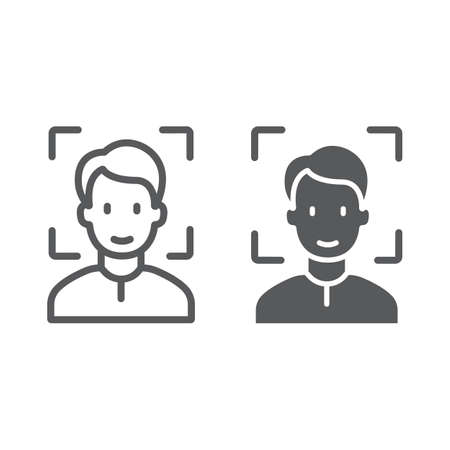 Face ID line and glyph icon, face recognition and face identification, face scanning sign, vector graphics, a linear pattern on a white background, eps 10.