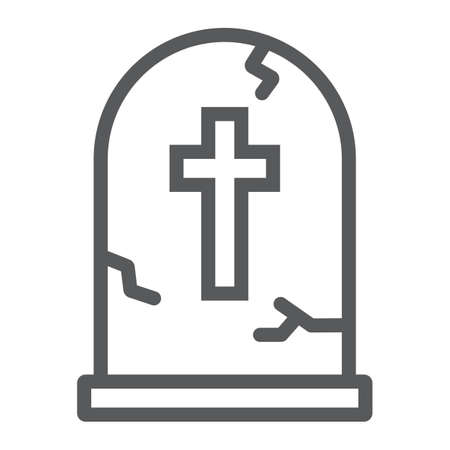 Tombstone line icon, halloween and death, grave sign, vector graphics, a linear pattern on a white background, eps 10.
