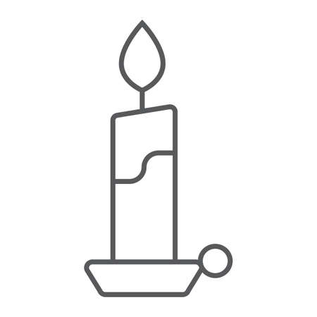 Candle thin line icon, flame and fire, candlelight sign, vector graphics, a linear pattern on a white background, eps 10.