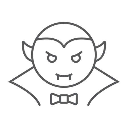 Dracula vampire thin line icon, bat and halloween, creature sign, vector graphics, a linear pattern on a white background, eps 10.