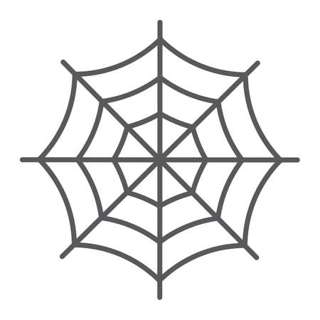 Spider web thin line icon, halloween and decoration, cobweb sign, vector graphics, a linear pattern on a white background, eps 10.