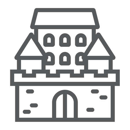 Castle line icon, architecture and fort, haunted house sign, vector graphics, a linear pattern on a white background, eps 10.