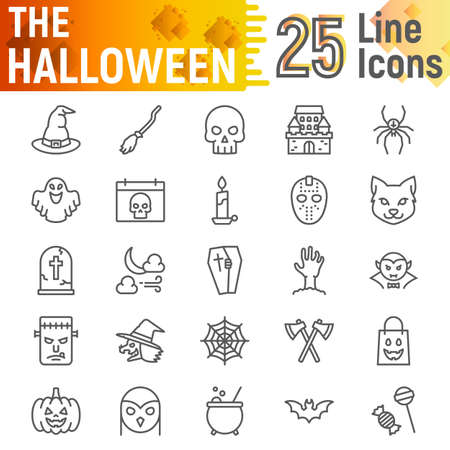 Halloween line icon set, spooky symbols collection, vector sketches, logo illustrations, horror signs linear pictograms package isolated on white background, eps 10. 版權商用圖片