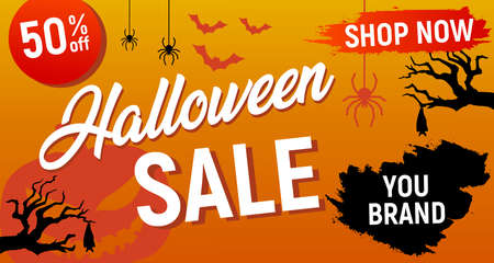 Halloween sale, halloween discount background, halloween offer banner, vector illustration, eps 10 Illustration