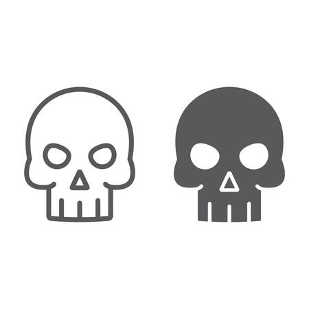 Skull line and glyph icon, halloween and death, skeleton sign, vector graphics, a linear pattern on a white background, eps 10.