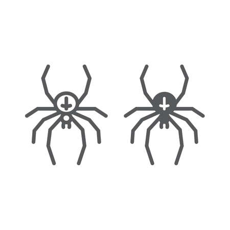 Spider line and glyph icon, animal and arachnid, halloween sign, vector graphics, a linear pattern on a white background, eps 10. Çizim