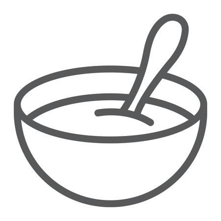 Icône de ligne de céréales pour bébé, nourriture et manger, signe de plat, graphiques vectoriels, un dessin linéaire sur un fond blanc, eps 10. Vecteurs