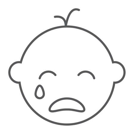 Baby boy cry line icon, emotion and child, face sign, vector graphics, a linear pattern on a white background, eps 10.