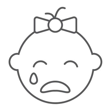 Baby girl cry line icon, emotion and child, face sign, vector graphics, a linear pattern on a white background, eps 10.