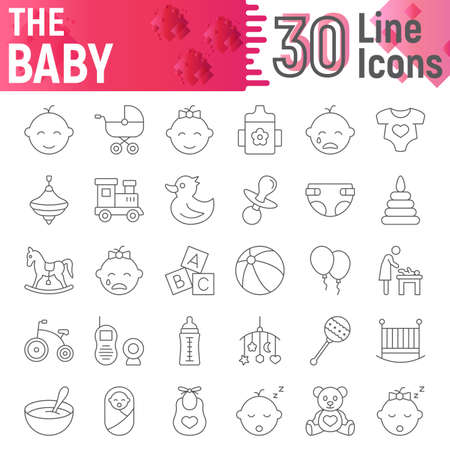 Baby thin line icon set, child symbols collection, vector sketches, logo illustrations, kid signs linear pictograms package isolated on white background, eps 10.