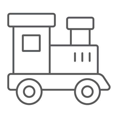 Tren icono de línea fina de juguete, niño y ferrocarril, signo de locomotora, gráficos vectoriales, un patrón lineal sobre un fondo blanco.