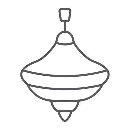 Icona di ronzio superiore sottile linea, giocattolo e gioco, segno whirligig, grafica vettoriale, un modello lineare su uno sfondo bianco.