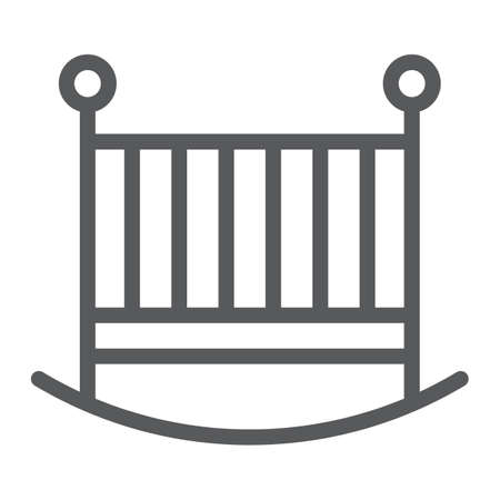 Baby crib line icon, child and bed, cot sign, vector graphics, a linear pattern on a white background, eps 10. Illusztráció