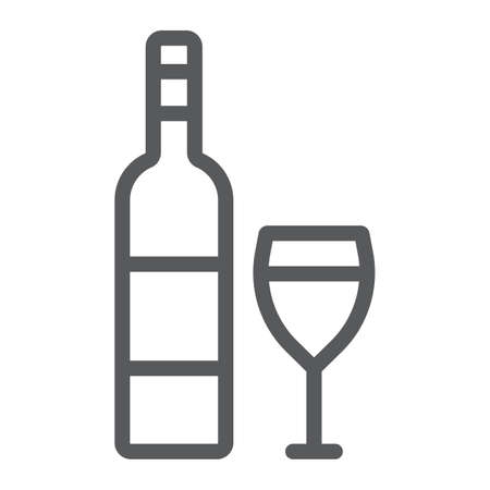 Wine line icon, alcohol and drink, glass sign, vector graphics, a linear pattern on a white background, eps 10. Ilustração