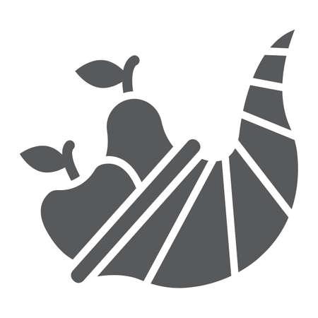 Icono de glifo de cornucopia, cosecha y comida, signo de la cesta, gráficos vectoriales, un patrón sólido sobre un fondo blanco, eps 10.