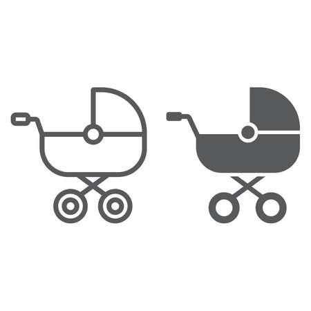 Icono de línea y glifo de carro de bebé, niño y juguete, signo animal, gráficos vectoriales, un patrón linear sobre un fondo blanco, eps 10. Ilustración de vector