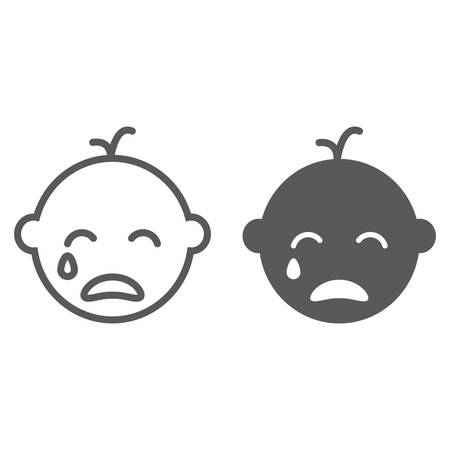 Baby boy cry line and glyph icon, emotion and child, face sign, vector graphics, a linear pattern on a white background, eps 10.