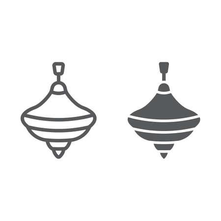 Icône de ligne supérieure et glyphe de bourdonnement, jouet et jeu, signe de tourbillon, graphiques vectoriels, un dessin linéaire sur fond blanc.