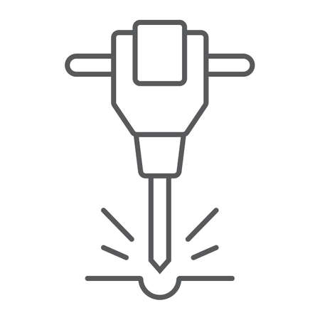 Construction jackhammer thin line icon, tool and repair, pneumatic hammer sign, vector graphics, a linear pattern on a white background.