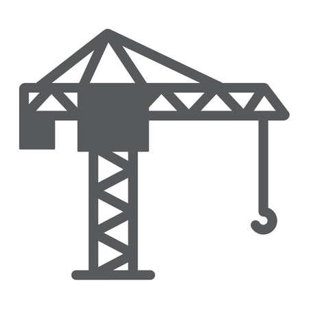 Icona del glifo con gru a torre, sollevamento e costruzione, segno di gru edile, grafica vettoriale, un modello solido su sfondo bianco. Vettoriali