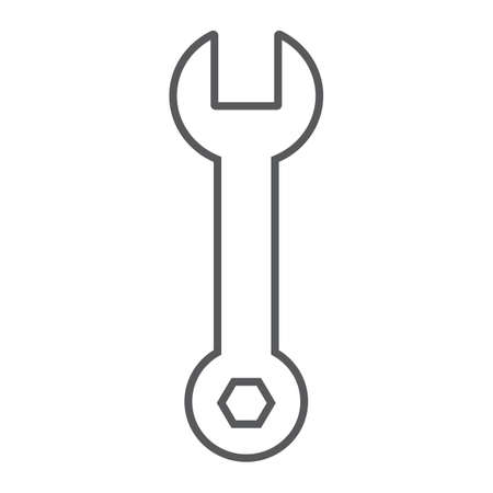 Wrench thin line icon, tool and repair, spanner sign, vector graphics, a linear pattern on a white background.