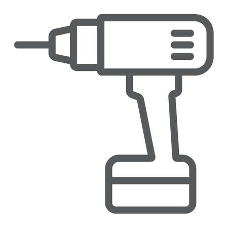 Electric drill line icon, tool and repair, screwdriver sign, vector graphics, a linear pattern on a white background.