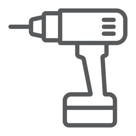 Elektrisches Bohrliniensymbol, Werkzeug und Reparatur, Schraubendreherzeichen, Vektorgrafiken, ein lineares Muster auf einem weißen Hintergrund.