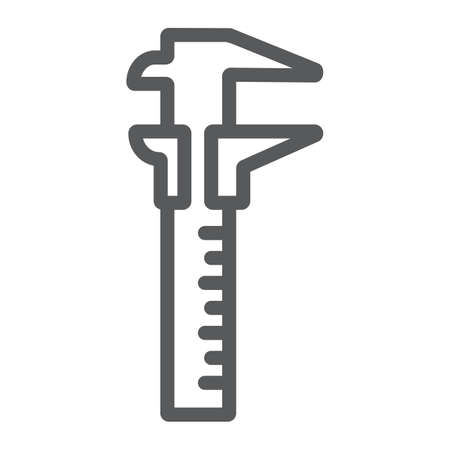 Vernier caliper line icon, tool and instrument, gauge sign, vector graphics, a linear pattern on a white background, eps 10. Illustration