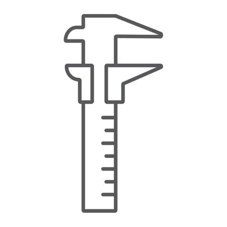 Vernier caliper thin line icon, tool and instrument, gauge sign, vector graphics, a linear pattern on a white background, eps 10.