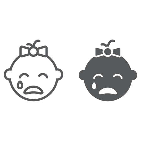 Baby girl cry line and glyph icon, emotion and child, face sign, vector graphics, a linear pattern on a white background, eps 10.