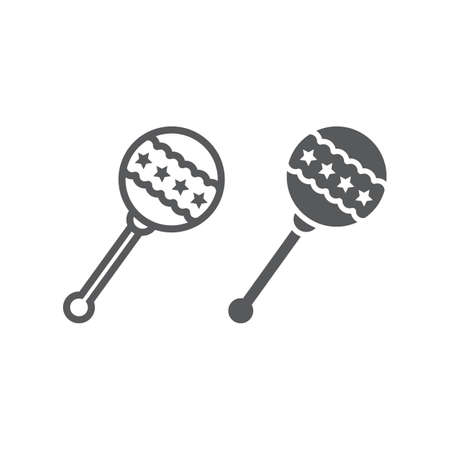 Rattle line and glyph icon, baby and ball, toy sign, vector graphics, a linear pattern on a white background. 일러스트