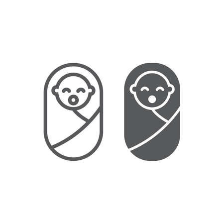 New born baby line and glyph icon, child and newborn, toddler sign, vector graphics, a linear pattern on a white background, eps 10.