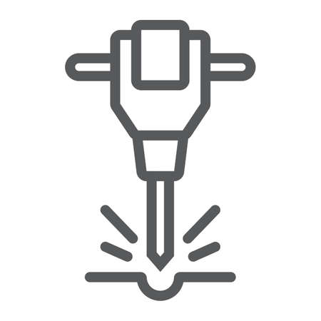 Construction jackhammer line icon, tool and repair, pneumatic hammer sign, vector graphics, a linear pattern on a white background, eps 10. Ilustração