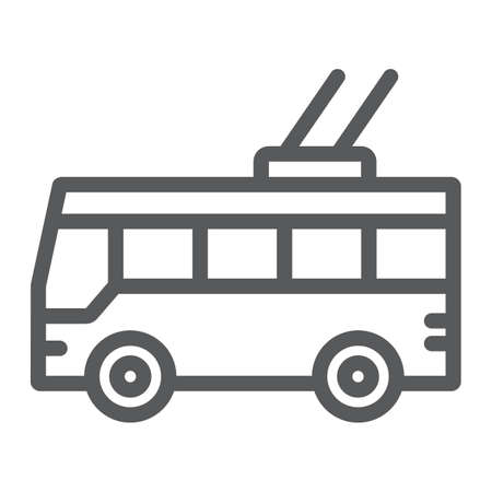 Trolleybus line icon, transport and public, traffic sign, vector graphics, a linear pattern on a white background.