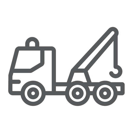 Tow truck line icon, transport and service, emergency sign, vector graphics, a linear pattern on a white background.