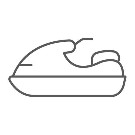 Jet ski thin line icon, transport and boat, water scooter sign, vector graphics, a linear pattern on a white background. Vettoriali