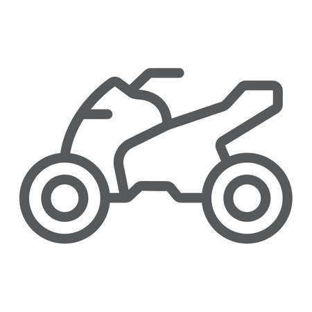Quadbike line icon, bike and extreme, ATV motorcycle sign, vector graphics, a linear pattern on a white background, eps 10. Illustration