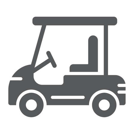 Golf car glyph icon, automobile and sport, cart sign, vector graphics, a solid pattern on a white background. Çizim