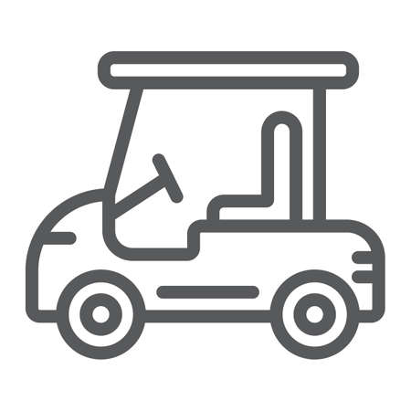 Golf car line icon, automobile and sport, cart sign, vector graphics, a linear pattern on a white background.