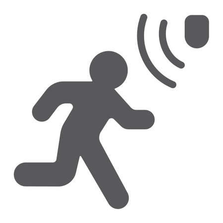 Bewegungserkennungs-Glyphensymbol, Sicherheit und Detektor, gehendes Mannzeichen, Vektorgrafiken, ein festes Muster auf einem weißen Hintergrund, eps 10.