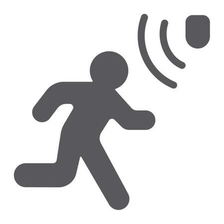 Icona del glifo con rilevamento del movimento, sicurezza e rilevatore, segno di uomo che cammina, grafica vettoriale, un modello solido su sfondo bianco, eps 10.
