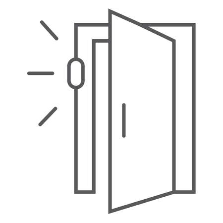 Door sensor thin line icon, access and security, automatic door sign, vector graphics, a linear pattern on a white background.