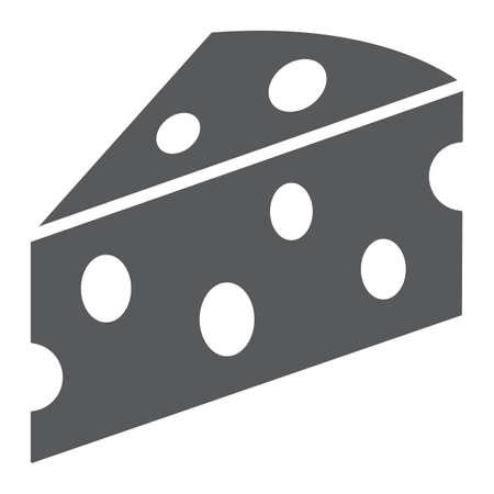 Icône de glyphe de fromage, lait et repas, signe de la nourriture, graphiques vectoriels, un motif solide sur fond blanc.