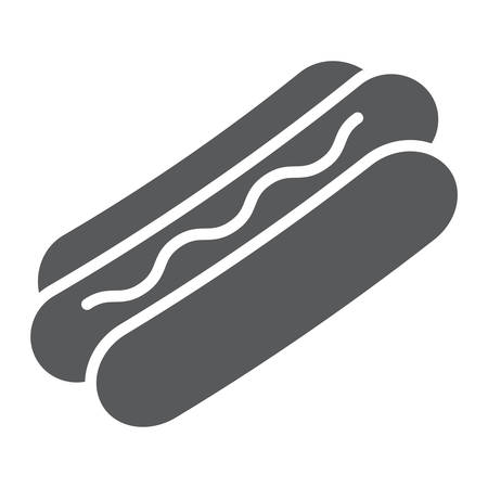 Hot dog glyph icon, food and meat, fast food sign, vector graphics, a solid pattern on a white background. Standard-Bild - 109505700