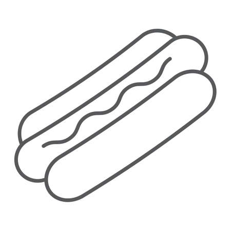 Hot dog thin line icon, food and meat, fast food sign, vector graphics, a linear pattern on a white background. Standard-Bild - 109505702