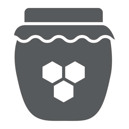 Icône de glyphe de miel, nourriture et sucré, signe de pot de miel, graphiques vectoriels, un motif solide sur fond blanc.