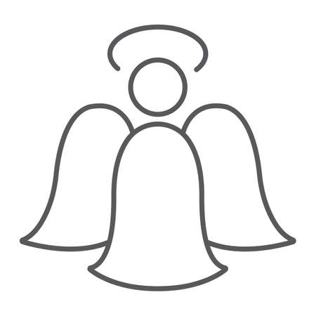 Angel thin line icon, decoration and christmas, angelic sign, vector graphics, a linear pattern on a white background.