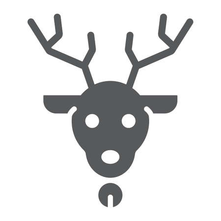 Christmas deer glyph icon, christmas and reindeer, rudolph sign, vector graphics, a solid pattern on a white background. Illustration