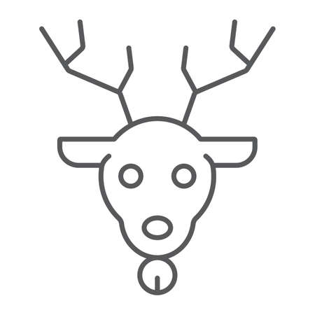 Christmas deer thin line icon, christmas and reindeer, rudolph sign, vector graphics, a linear pattern on a white background. 矢量图像